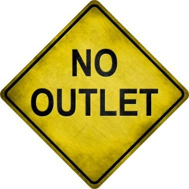 MENYRU No Outlet Metal Crossing Sign 8x8 Inches Square Sign