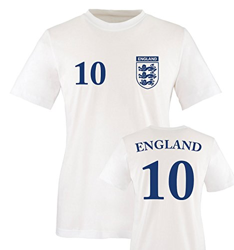 EM 2016 - TRIKOT - EM 2016 - ENGLAND - 10 - Herren T-Shirt - Weiss / Blau Gr. L