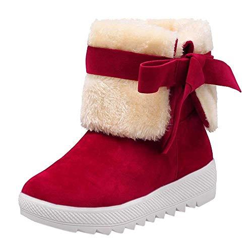 Fenverk Frau Schnee Stiefel Einfarbig Klassisch Krawatte SchlüPfen Student BeiläUfig Schuhe Damen Winter Groß Wasserdicht Warm Regen Turnschuhe(Rot,38EU) -