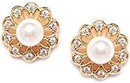 Zaveri Pearls Flower Shape Sparkling Cubic Zirconia & Pearl Stud Earring For Women-ZPFK