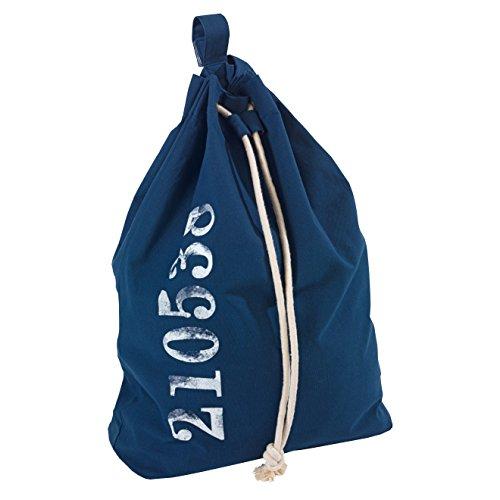 Wenko 62041100 Wäschesack Sailor - Wäschesammler, Fassungsvermögen 50 L, Baumwolle, 55 x 65 x 18 cm, blau