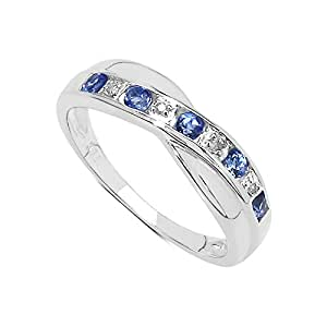 The Diamond Ring Collection: 9ct White Gold Tanzanite & Diamond Channel Set Crossover Eternity Ring (Size H)