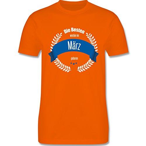 Geburtstag - Die Besten werden im März geboren - Herren Premium T-Shirt Orange