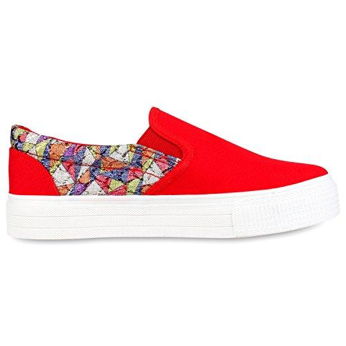 Modische Damen Sneakers | Bequeme Slip-ons| Funkelnde Glitzerapplikationen  | Angesagte Plateausohle | Gr ...