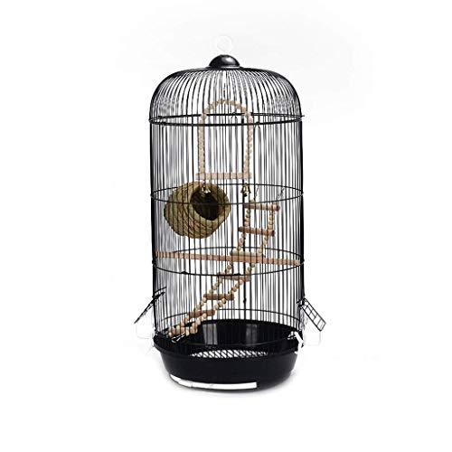 FGCV Großer Metallvogelkäfig for Wellensittiche Birds Finken Kanarischen Hoch Papageien-Käfig hängenden Käfig Sun Indian Ring Ausschnitt Green Cheek Sittich Reisevogelkäfig Schwarz -