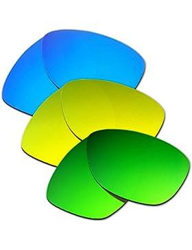 Hkuco Plus Mens Replacement Lenses For Oakley Jupiter Blue/24K Gold/Emerald Green Sunglasses