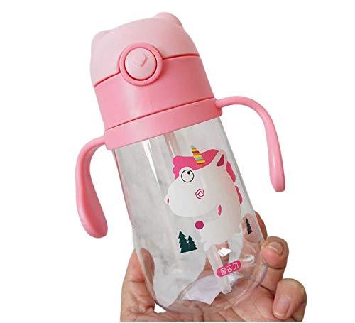 Onebycitess Leak Proof Straw Kids Trinkflasche Cartoon Insulated Tumbler mit wiederverwendbarem Strohhalm und Griff