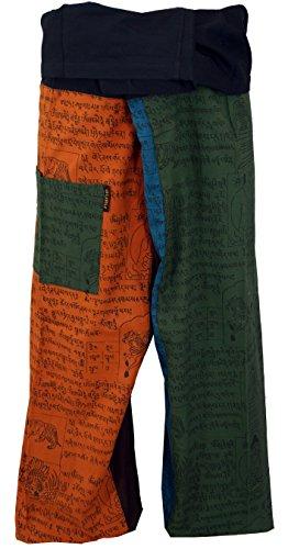 Guru-Shop Baumwoll-Fischerhose, Patchwork Wickelhose, Yogahose aus Nepal, Herren/Damen, Mehrfarbig, Baumwolle, Size:One Size, Fischerhosen Lange Größe Alternative Bekleidung