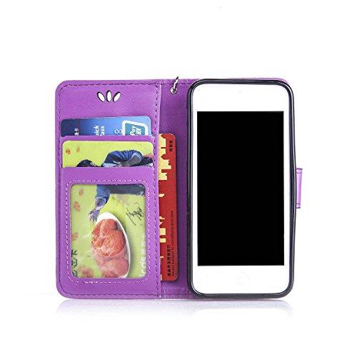 TOCASO Case for Apple iPhone 6 / 6S Custodia in PU Copertura di Ccuoio Cover, Sintetica Ecopelle Pelle Guscio per iPhone 6 / 6S Bronzing oro farfalla Protezione Caso Ultra Sottile shell protettivi Bum Porpora