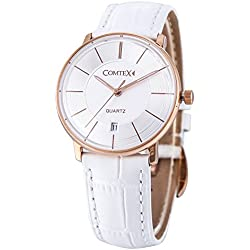 Comtex Quartz Watches for Women Rose Gold Tone Dial with Date Window Display