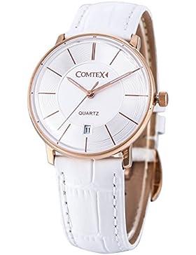 Comtex Damen-Armbanduhr mit Rose Golden Fall und weiß Leder Kalender Display