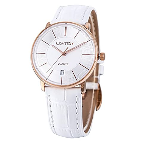 Comtex Women's Watches with White Leather Strap Rose Gold Case