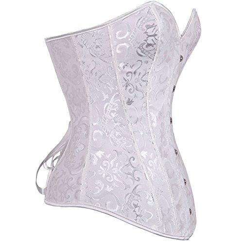 U-Pretty Damen Korsett Mieder Korsage Burleske exclusive Dessous White Classic