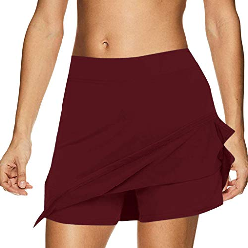 Tennis Golf Rock Hosenrock Bodycon High Waist Kurze Hose Damen Minirock Shorts Laufen Sexy Sportrock Weiblich Schwarz Weiß Kurz Sommer Mädchen Elegant Basic Boho Business Party Rock(rot.XL) Golf Scrunchie