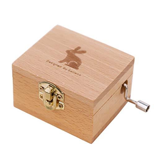 Yililay Manual del patrón de Conejo Caja de música de manivela de Madera con Espejo Musical Box Regalo de cumpleaños para la Muchacha 11