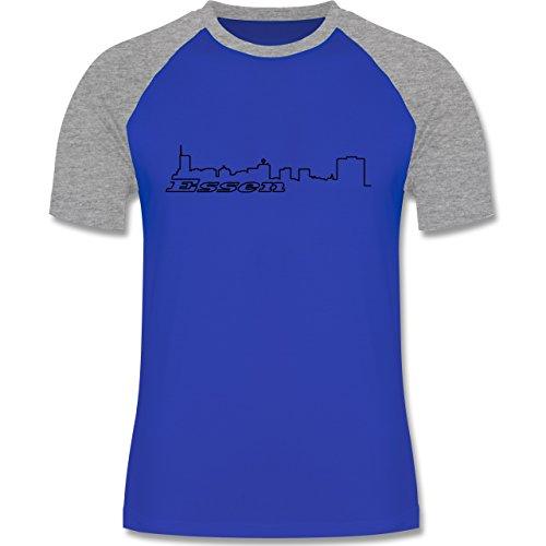 Skyline - Essen Skyline - zweifarbiges Baseballshirt für Männer Royalblau/Grau meliert