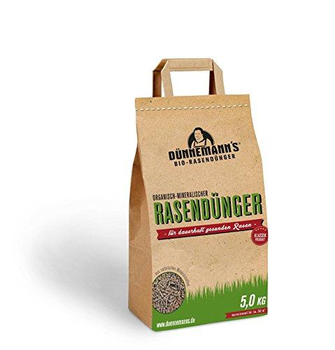 Dünnemann´s Biorasendünger - mit Langzeitwirkung -Frühjahrsdünger - 5 kg - 1PACK, für 50 m² - natürliche Humusbildung - TORFFREI - Rasendünger - Bio Rasendünger - Öko - Biodünger - Rasenduenger