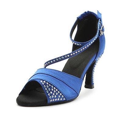 Silence @ latine Chaussures de danse pour femme en satin Talon Bleu/violet bleu