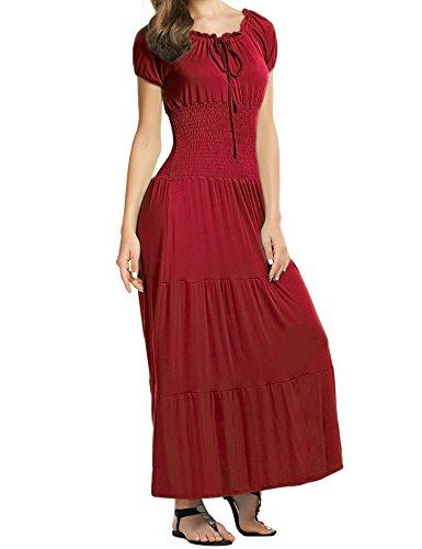 Meaneor Damen Renaissance Maxikleid Falten Empire Kleid Stretch Tailliert Kurzarm Herbst (Renaissance Kleidung)