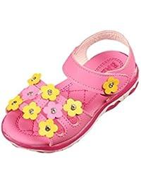 Malloom 1-6 años Niñas Flores patrón llevó luz hasta Sandalias Luminosas Zapatos Casuales