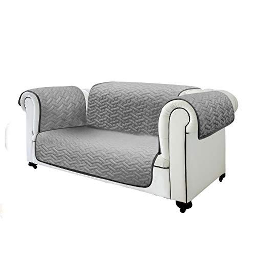 Best direct copridivano divano protezione sofa e poltrona da peli di cane impermeabile arredamento singolo-2-3 posti dual face doppio colore (nero / grigio o marrone / beige) (nero/grigio, 2 posti)