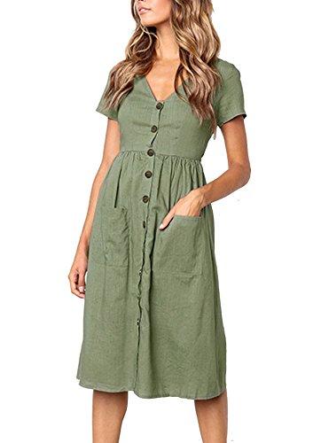 Quceyu Women Summer Dresses Casual Short Sleeve V Neck Swing Beach Holiday Midi Dress