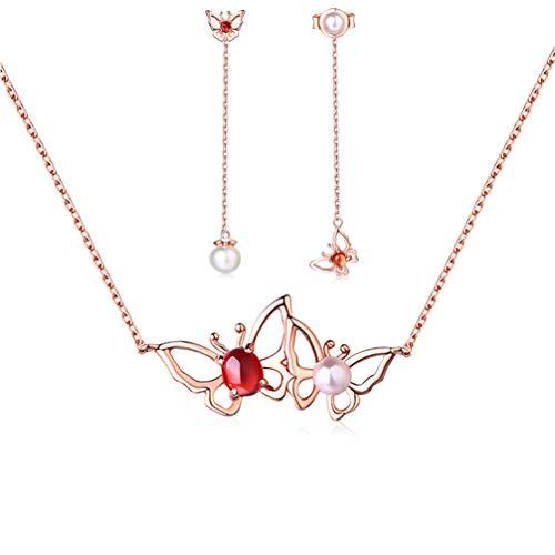 WANZIJING 2 Stück Granat Perle Schmetterlings schmuck Set, 925er Sterling Silber Mini Schmetterling Anhänger Schmuck für die Hochzeit von - Schmutz Billige Kostüm Schmuck