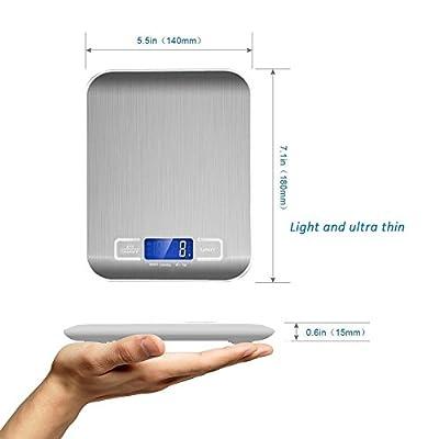 Multifunzione Bilancia da Cucina Digitale,LCD Display Retroilluminato,Acciaio Inossidabile Equilibrio Elettronico in Cucina,5Kg/11lbs,Conversione Unità oz/ml/lbs/g,Argento (2*Batterie AAA 1,5V) by SHENZHENSHI LIJIANENG SHIYE YOUXIANGONGSI