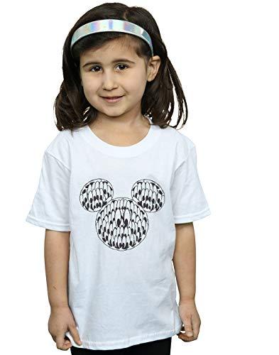 Disney Mädchen Mickey Mouse Head of Eyes T-Shirt Weiß 7-8 Years
