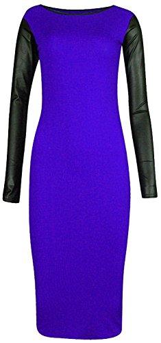 Chocolate Pickle ® Nouvelles femmes Taille Plus Pu Robe moulante Wetlook Midi Parti 36-54 Royal Blue