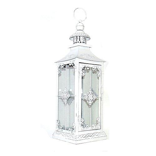 Laterne CHALET weiß shabby chic H56cm mattweiß mit romantischen Details