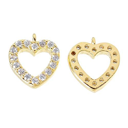 Sadingo Herzanhänger, Herz Charm, Anhänger Herz - mit Kubic Zirkonia - 1 Stück - 10 x 9 mm - Gold o. Silber plattiert, Farbe:Gold