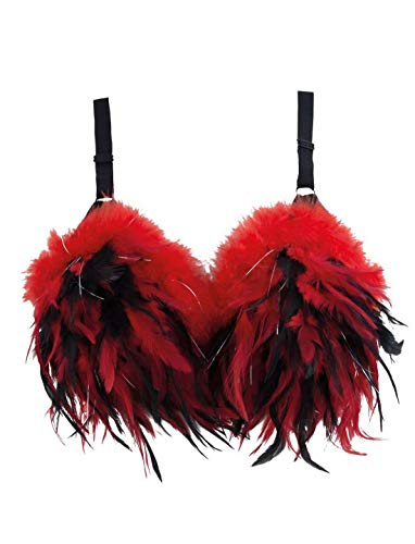 Confettery - Kostüm Accessoires Zubehör, BH mit Federn, Bra with Feathers, perfekt für Halloween Karneval und Fasching, ()
