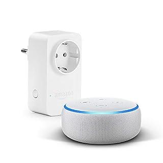 Das neue Echo Dot (3. Gen.), Sandstein Stoff + Amazon Smart Plug (WLAN-Steckdose), Funktionert mit Alexa