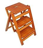 YY Möbel Startseite Holz Multifunktions Klappleiter - Klappbare Holztreppen Multifunktionsfestholz Drei/Zwei Stufen Natura Hocker, 4 Farben (Farbe : B, Größe : 66cm)