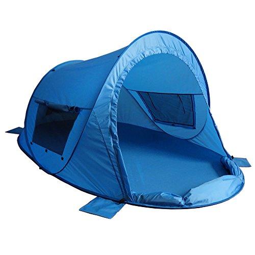 outdoorer Strandmuschel Zack Premium Family, Pop Up Strandmuschel verschließbar, zertifizierter UV 80 Sonnenschutz für den Strand (blau)
