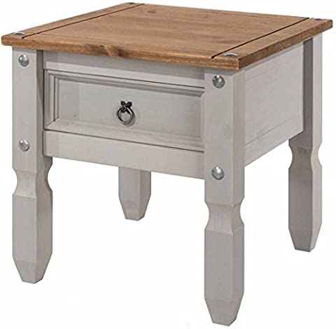 Core Products Corona Grey Lamp Table Distressed Waxed Pine Finish