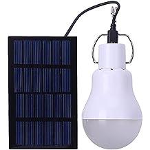 AOLVO Bombilla Led Exterior Solar, Lámpara de Camping, Placas Solares Led para Iluminación de