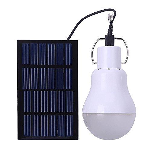 AOLVO Bombilla Led Exterior Solar, Lámpara de Camping, Placas Solares Led para Iluminación de Emergencia Lluminación de Cobertizo en Jardín, Portátil LED Camping Luces de Noche al Aire Libre