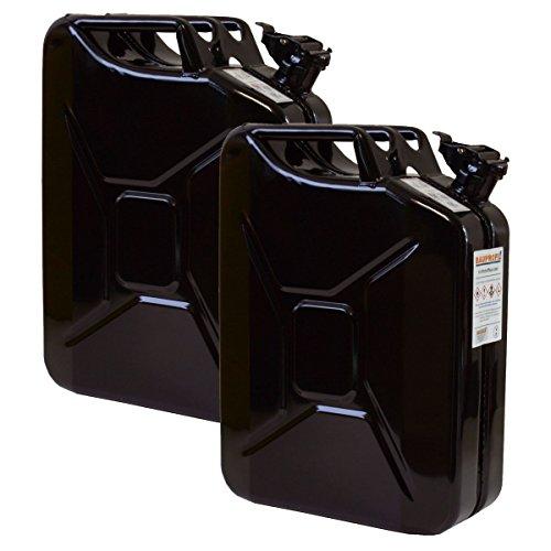 2er Set 20 Liter Benzinkanister Metall GGVS mit Sicherungsstift schwarz Blechkanister