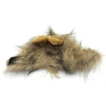 Rameng Costume de Lion Pour Petit Chien Chats Chapeau Crinière Déguisement Mane Cheveux Perruque (Gris)