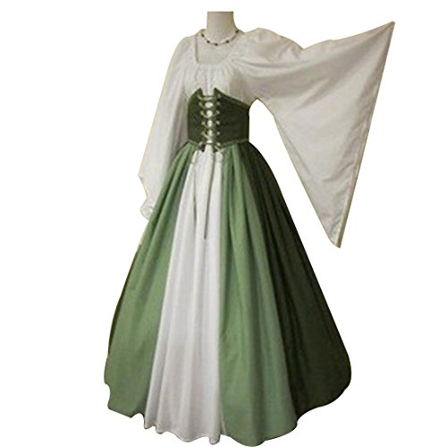 (Xiemushop Damen Langarm Mittelalter Kleid-Gothic Viktorianischen Königin Kostüm mit Korsage und Schnürung,O-Ausschnitt Prinzessin Renaissance Bodenlänge,Mehrfarbig)