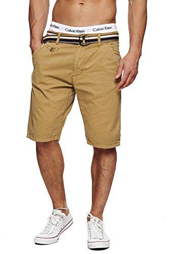 ... Indicode Herren 70-039S Cuba Chinoshorts Shorts kurze Hose mit Gürtel  Amber ...