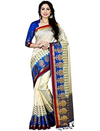 Mimosa Women's Art Silk Saree With Blouse Piece (4060-229-2D-Hwt-Rblu,Off White,Free Size)