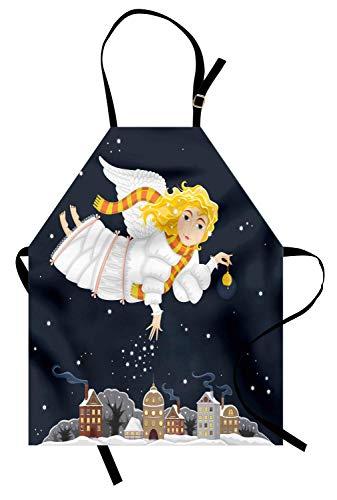 Engels-Schürze, niedlicher Cartoon des Mädchens mit Flügeln Fliegen und gießen Wunder auf Dorf im Winter nachts, Unisexküchen-Latzschürze mit justierbarem Hals für das Kochen der ()