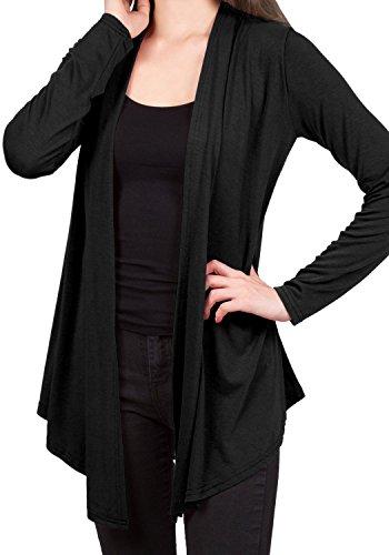 Suimiki Casual Damen Cardigan Strickjacke Offener V-Ausschnitt Langarmshirts Sweatshirts Loose Fit Longshirts Sommerjacke Blusen Schwarz/Marineblau/Weiß/Hellgrau/Rosa (EU XL, Schwarz)