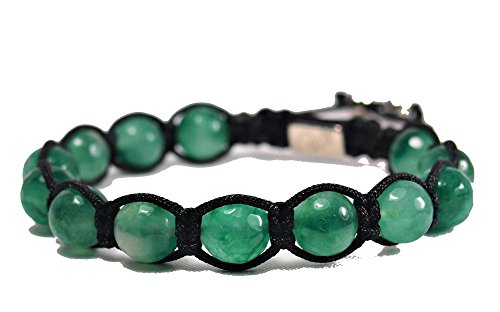 Jo.28 Designer Armband Green Water aus Handarbeit - Edles Perlenarmband mit echten grün transparenten Jadeperlen - Armschmuck für Damen und - Jade Paracord