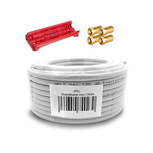 HD Sat Kabel 20 m Koaxialkabel 135 dB + Kabelmesser + 4 x F Stecker vergoldet Koaxial 5-fach geschirmt Satkabel TV Antennenkabel Koax 4K F-Stecker gold ARLI