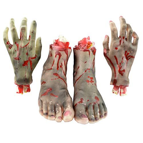 JIBO Halloween Props Mano Prostética Roto Pie Látex Casa Fantasma Casa Embrujada Decoración Decoración Suministros,B