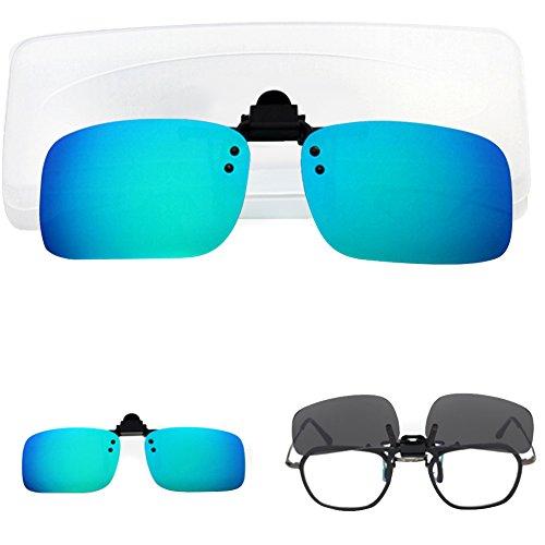 Amorar Sonnenbrille Clip, Polarisationsbrille Clip Sonnenbrille Aufsatz Flip up Linse Clip-On Eyewear UV400 Blendfreie Brille Gläser mit Brillen-Etui für Brillenträger Outdoor/Driving/Fishing